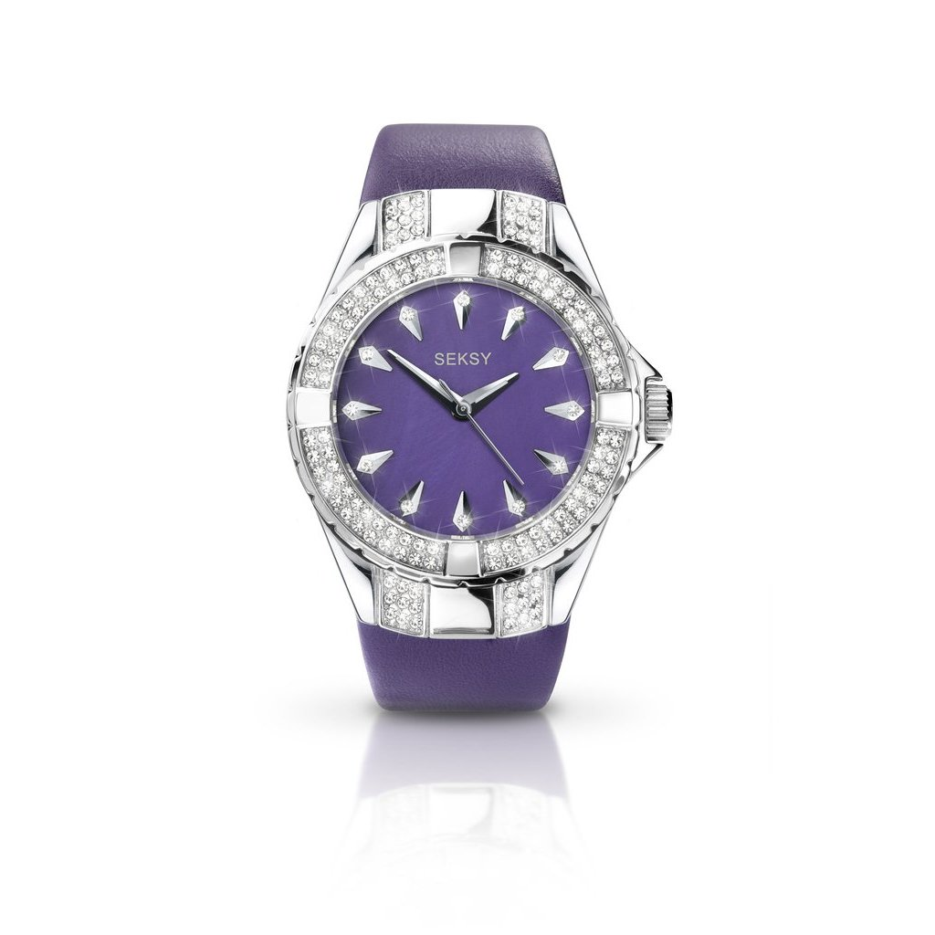 Seksy ladies leather strap watch 4521 from timewatchshop free delivery in the uk for Violet leather strap watch