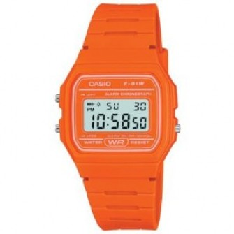 Casio Digital Watch with Orange Strap F-91WC-4A2EF