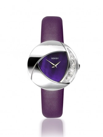 Seksy Summer Crystal Eclipsed Purple Strap Watch 4529