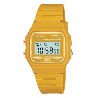 Casio Digital Watch with Yellow Strap F-91WC-9AEF