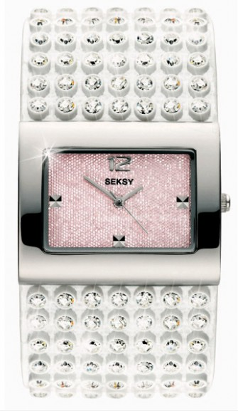 Seksy Ladies Crystral Watch White 4754