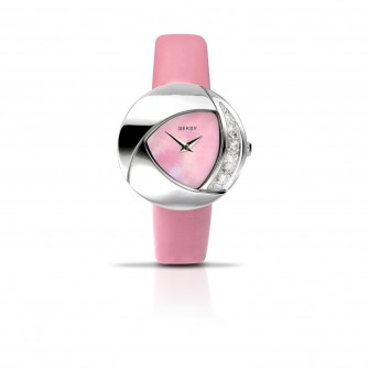 Seksy Crystal Eclipsed Pink Strap Watch 4528