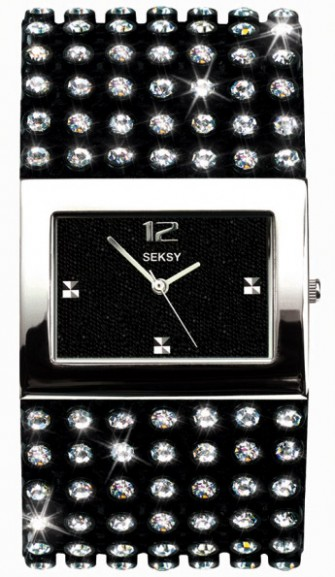 Seksy Ladies Crystral Watch Black 4753