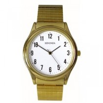 Sekonda Gents Gold Plated Analogue Expander Watch