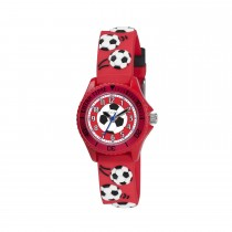 Tikkers Red Football Theme Silicone Watch